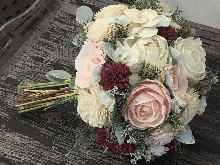 Burgundy, Pink, Wedding Bouquet Made With Sola Flowers - Choose Your Colors Custom Alternative Bridal Bouquet Bridesmaids
