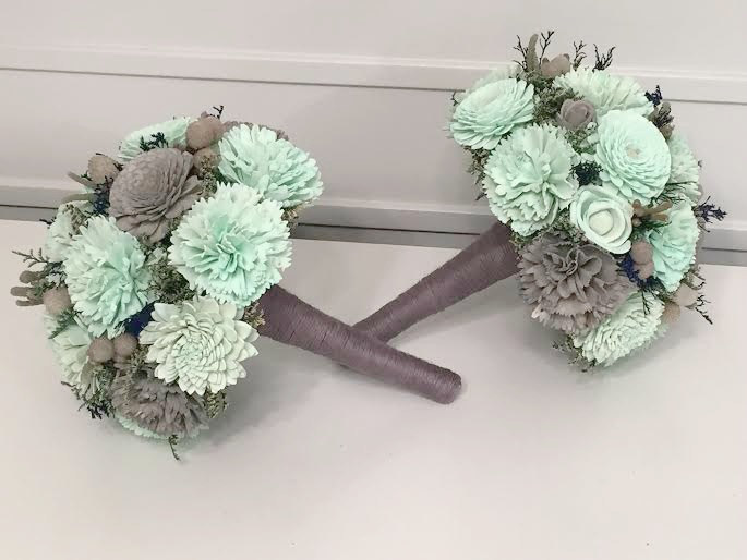 Navy, Mint, Gray Wedding Bouquet Made With Sola Flowers - Choose Colors Bridal Bouquet Alternative Bridesmaids