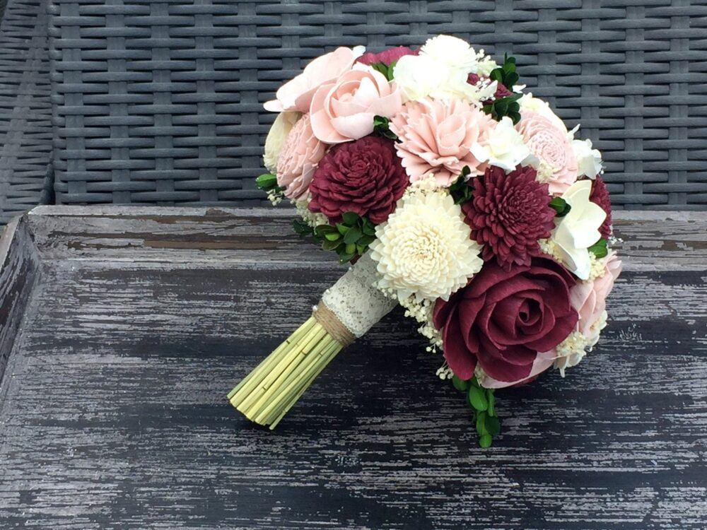 Burgundy, Blush, Wedding Bouquet Made With Sola Flowers - Choose Your Colors Custom Alternative Bridal Bouquet Bridesmaids