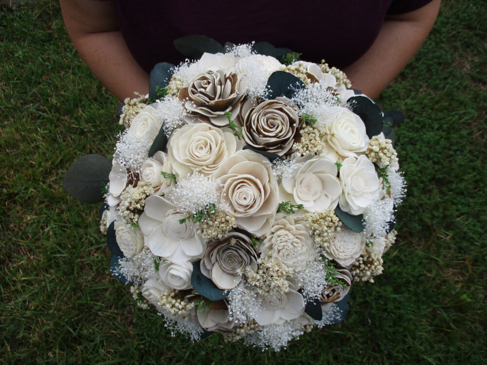 Rustic Sola Wood Flower Wedding Bouquet