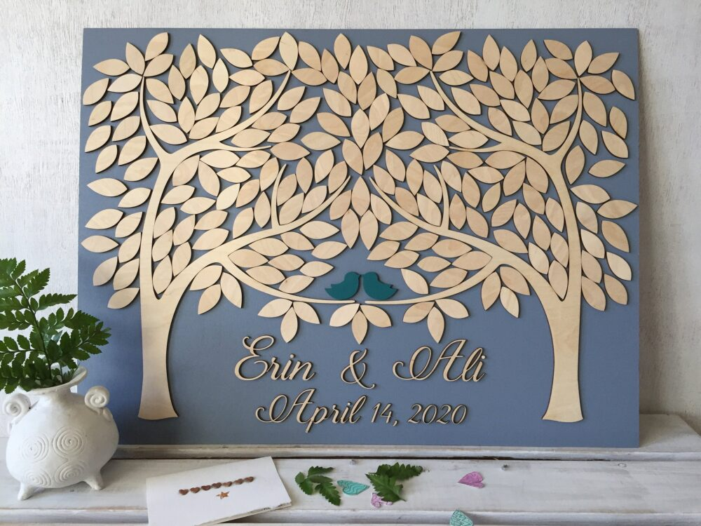 3D Wood Wedding Guest Book Alternative Unique Sign in & Love Birds Leaves To With Customizable Colors