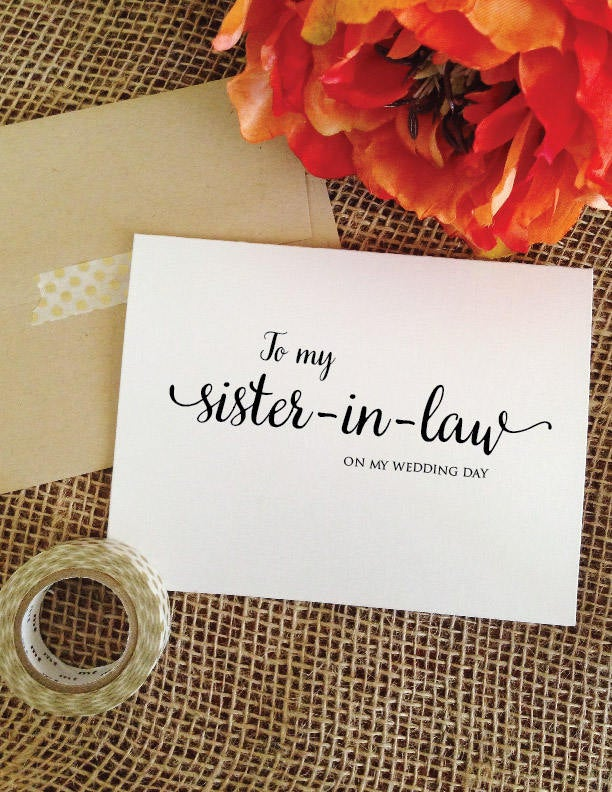 To My Sister-In-Law Card Sister in Law Gift Sister Wedding Wedding Thank You For Of The Groom | Lovely