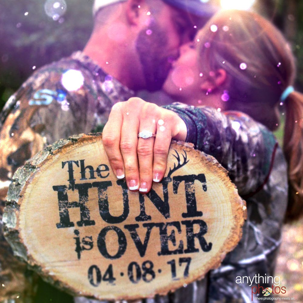 The Hunt Is Over Wedding Engagement Personalized Date Rustic Wood Slice Plaque Decoration Sign - Made in Usa