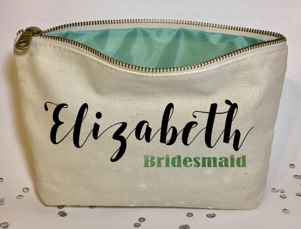 Personalized Wedding Makeup Bag- Canvas Cosmetic Gifts For Bridesmaid- Wedding Gifts- Bridal Shower Gift - Zipper Pouches- Canvas Bags