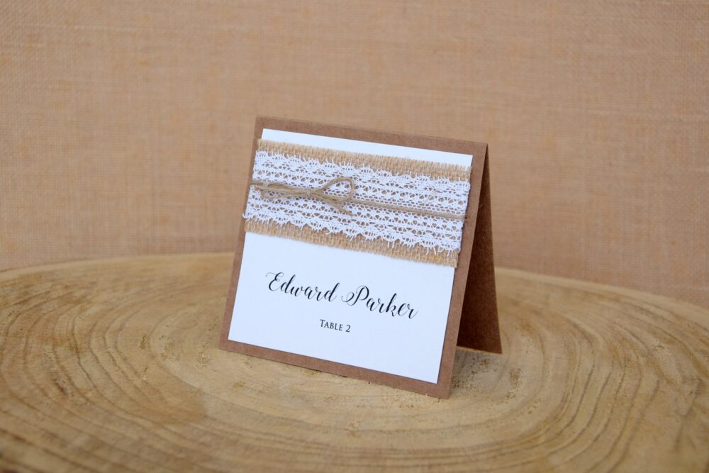 White Lace Wedding Place Cards, Rustic Escort Burlap Card, Kraft Name Chic Card