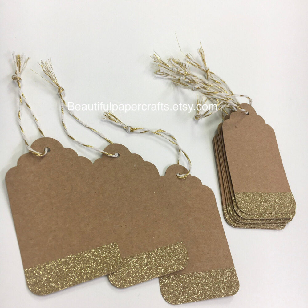 Kraft & Gold Tags | Wedding Place Cards Rustic Cards| Country Luggage Favors