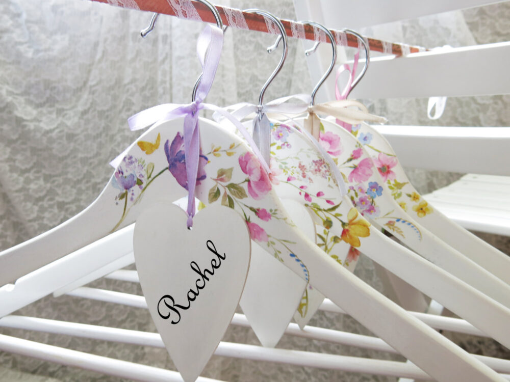 Bridesmaid Hangers Bride Hanger Bridal Shower Gift Personalized Summer Wedding Floral Party Robe