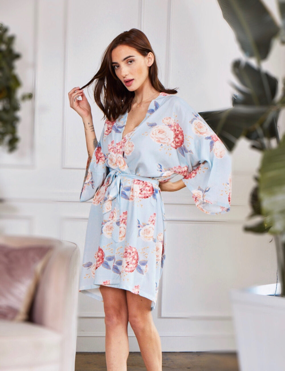 Floral Bridesmaid Robes, Wedding Day Robe, Bridal Party Robe For Bridesmaids, Maid Of Honor Cotton