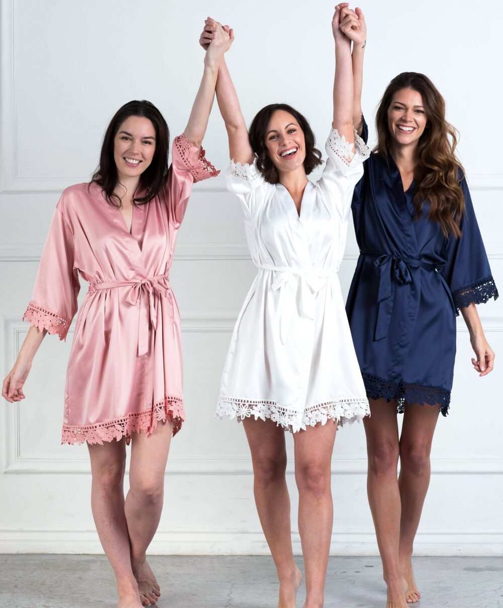 Lace Trimmed Satin Wedding Party Robes | Bridal Lace-Trimmed Robe Bridesmaid