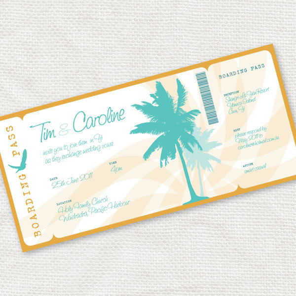 Beach Wedding Invitation Boarding Pass Ticket Style Invite For Destination - Printable Diy Summer Tropical Palm Trees Travel Sea
