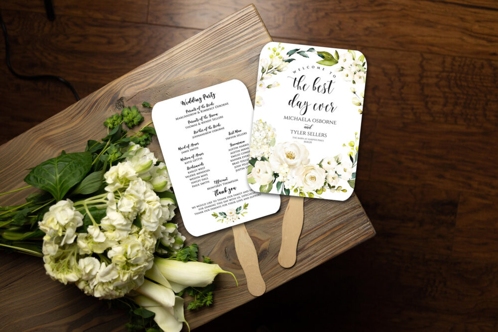 Wedding Program Fan, Printed & Assembled, White Floral, Simple