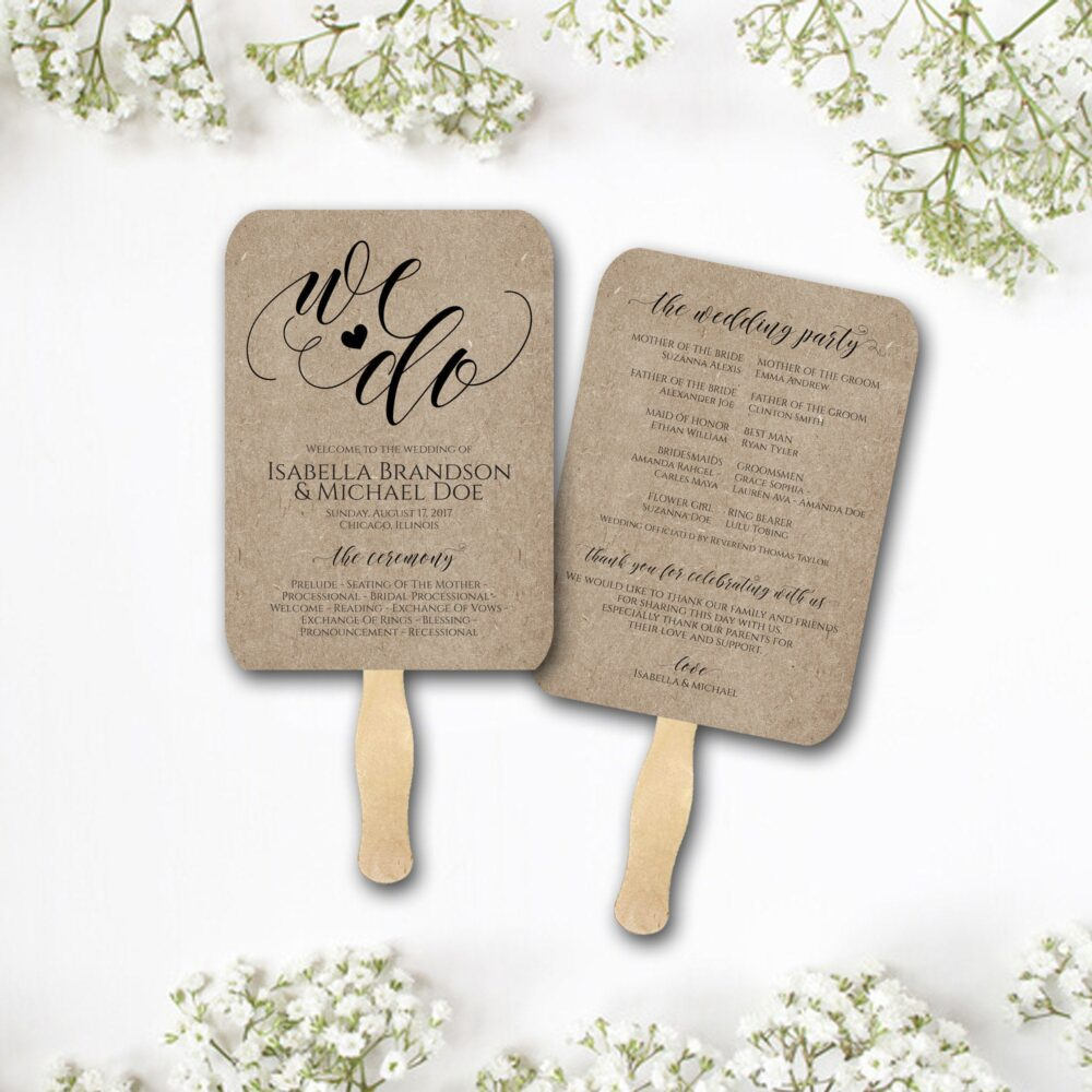 Wedding Program Fan, Printed & Assembled, Rustic Fans, Fans For Guests, Free Shipping