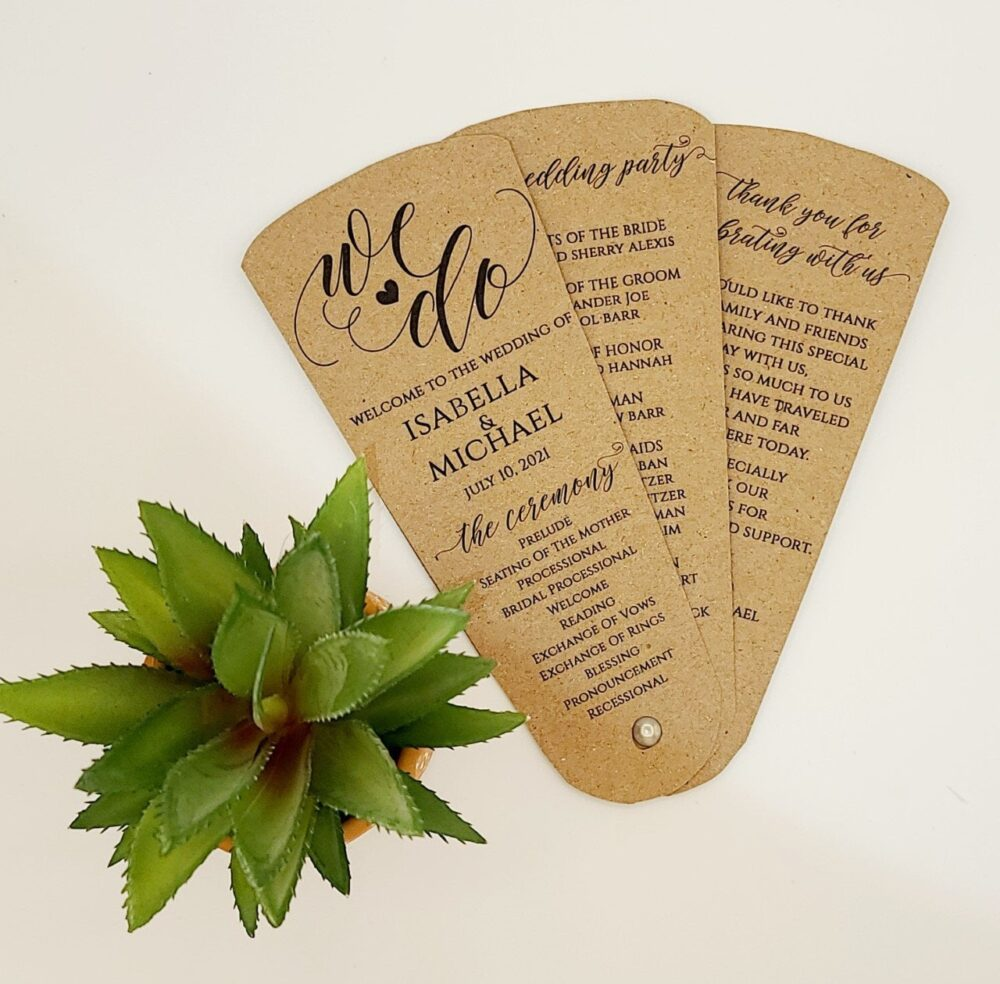 Wedding Program Fan Assembled, Petal Program, Wedding Fans For Guests, Customize, Personalised, Free Shipping