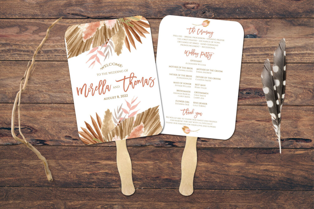 Wedding Program Fan Assembled, Boho Wedding, Wedding Fans For Guests, Customize, Personalised, Program, Pampas Grass