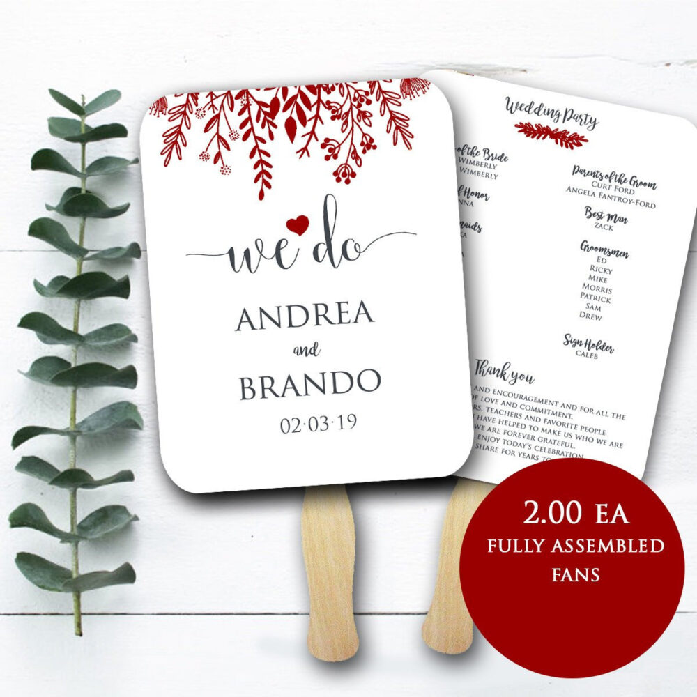 Wedding Program Fans Wooden Sticks Included - Printed Ceremony Fan Simple Fans-Any Colors