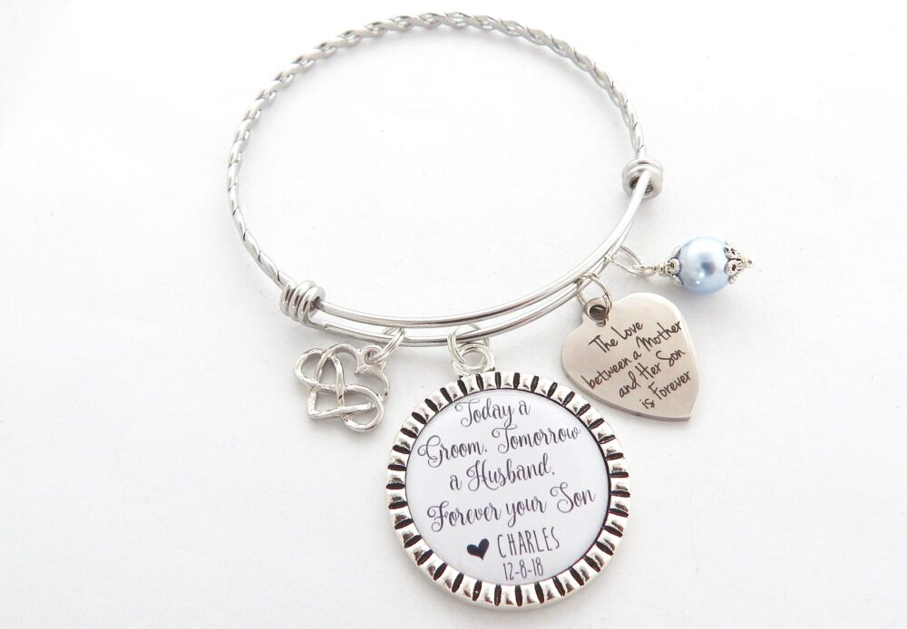 Mother Of The Groom Gift-Wedding Gift For Mom-Infinity Wedding Gift-From Son-Gift Mom-Today A Groom-Charm Bracelet-Wedding With Date