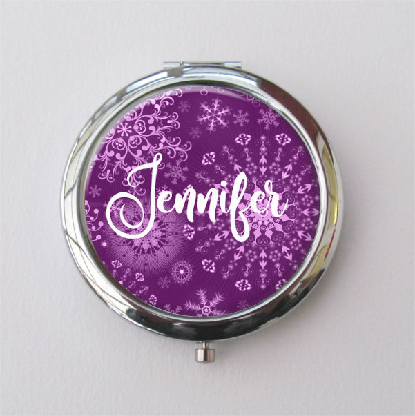 Winter Wedding Bridesmaid Gift, Personalized Compact Mirror With Snowflake Design