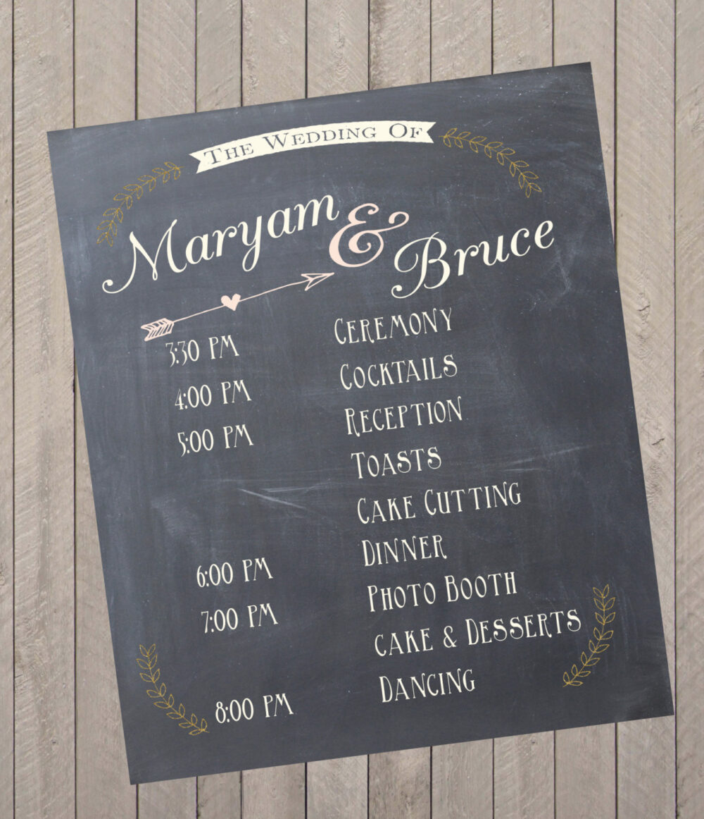 Custom Wedding Program Event Schedule Chalkprint Sign - Party Sign | Pdf File