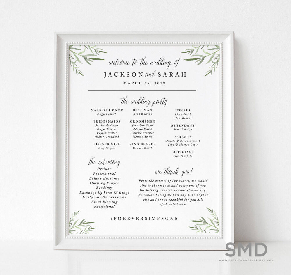 Watercolor Leaves Wedding Program Sign, Timeline, Signage, Party, Ceremony Display Board, Floral, Printable