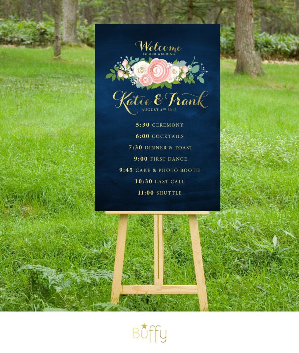 The Jenny . Timeline Event Sign Wedding Program Itinerary Printed Large Or Pdf Gold Calligraphy Navy Chalkboard Pink White Peony Rose