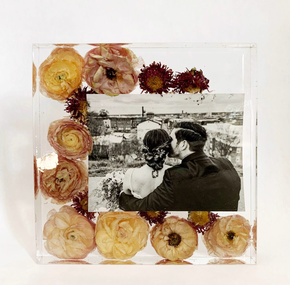 Preserved Wedding Bouquet, Custom Flower Art, Memento, Flowers in Resin, Resin Block
