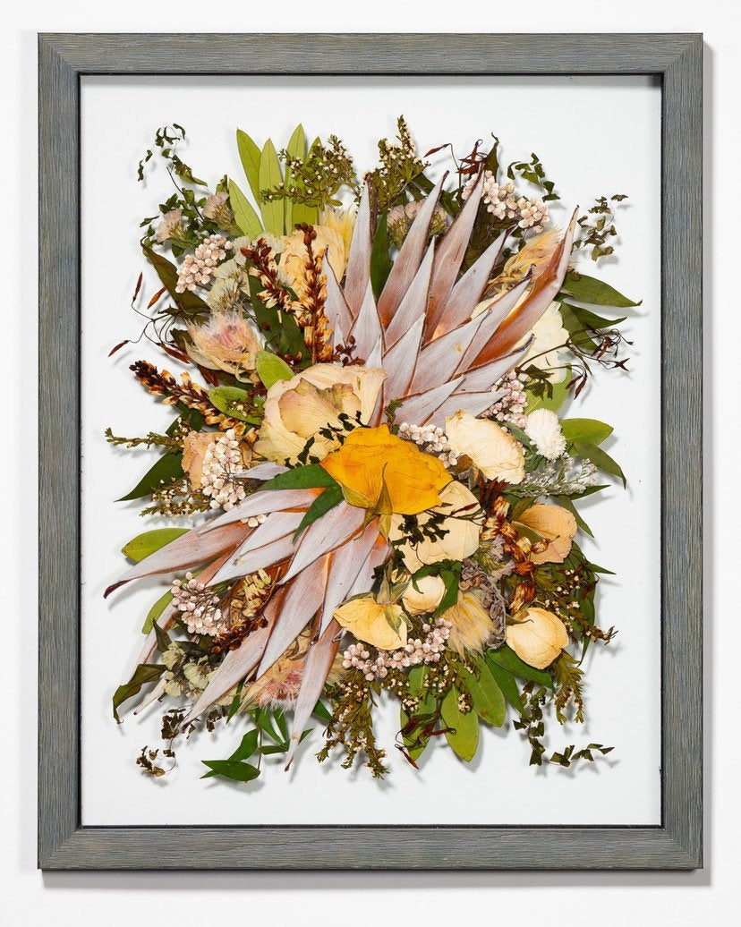 Pressed & Framed Wedding Bouquet, Custom Flower Art, Memento, Flowers, 11x14, Flowers
