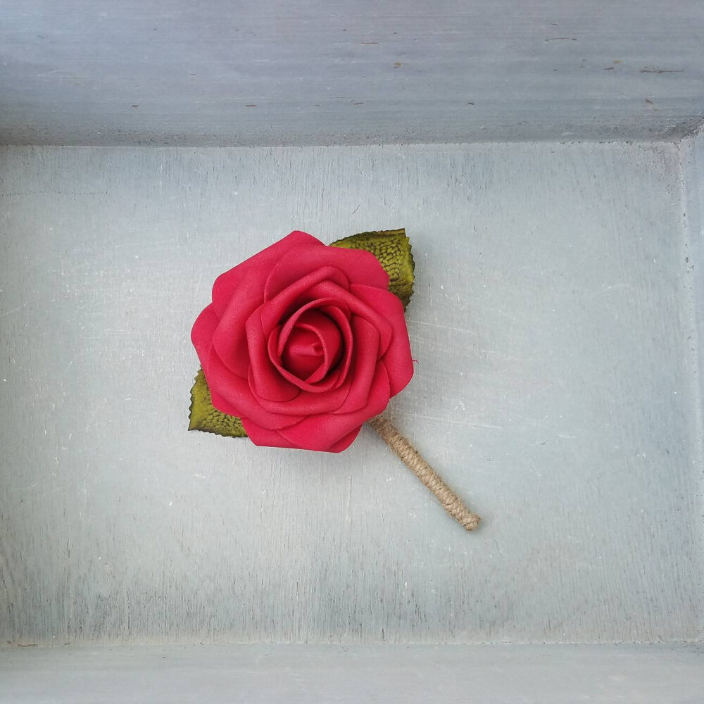 Red Rose & Twine Wedding Boutonnieres, Wedding Boutonniere, Red Boutonniere, Rustic