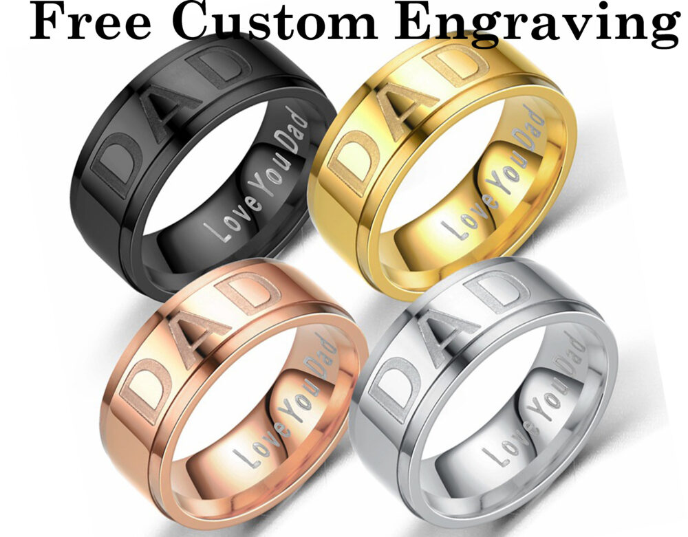 8mm Titanium Steel Dad Ring, Ring For Dad, Personalized Ring, Father's Day Gift, Free Laser Lettering, Custom Name, Black, Gold, Rose Gold