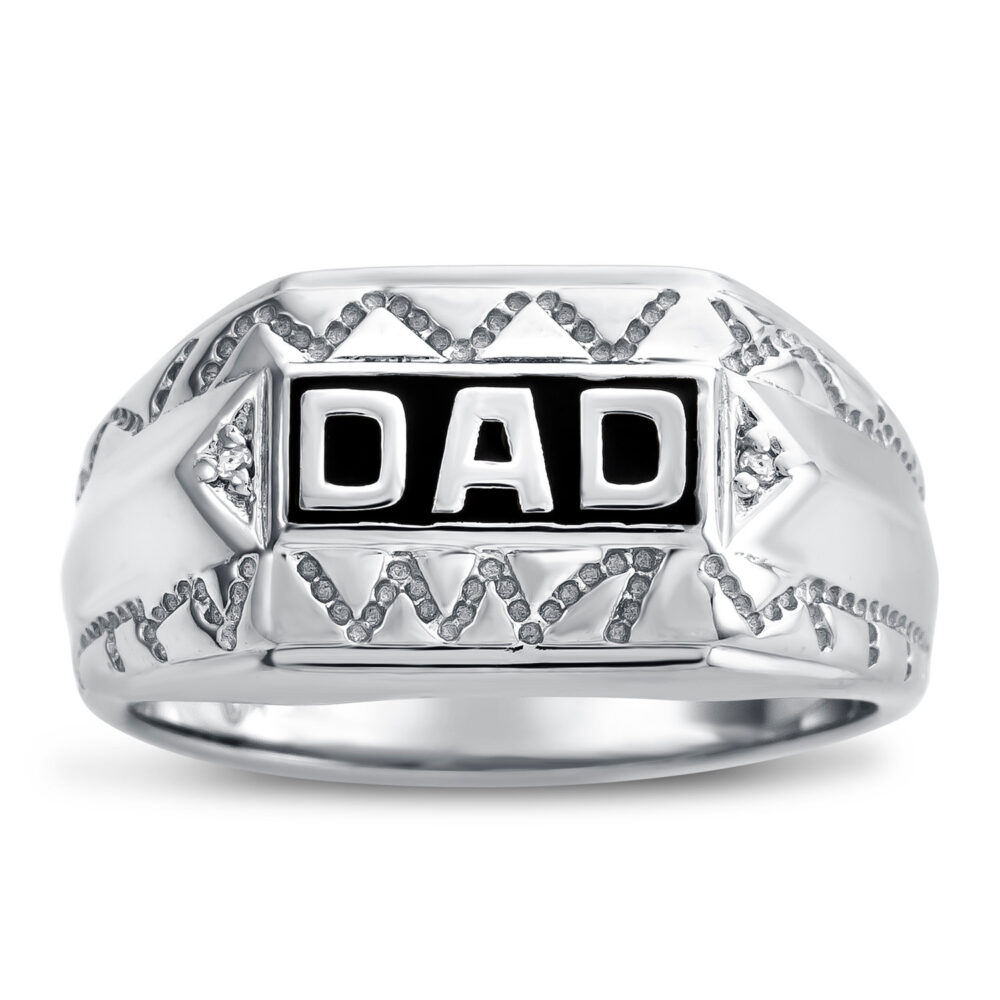 Dad Signet Ring For Ring, Sterling Silver Gift Father Diamond Ornamented