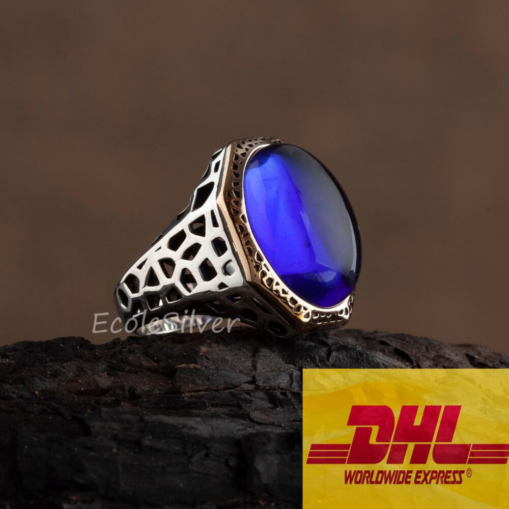 Dhl Express Shipping, Sterling Silver Mens Ring, Mens Sapphire Ring, Sapphire Man Unique Handmade Ring, Silver Ring