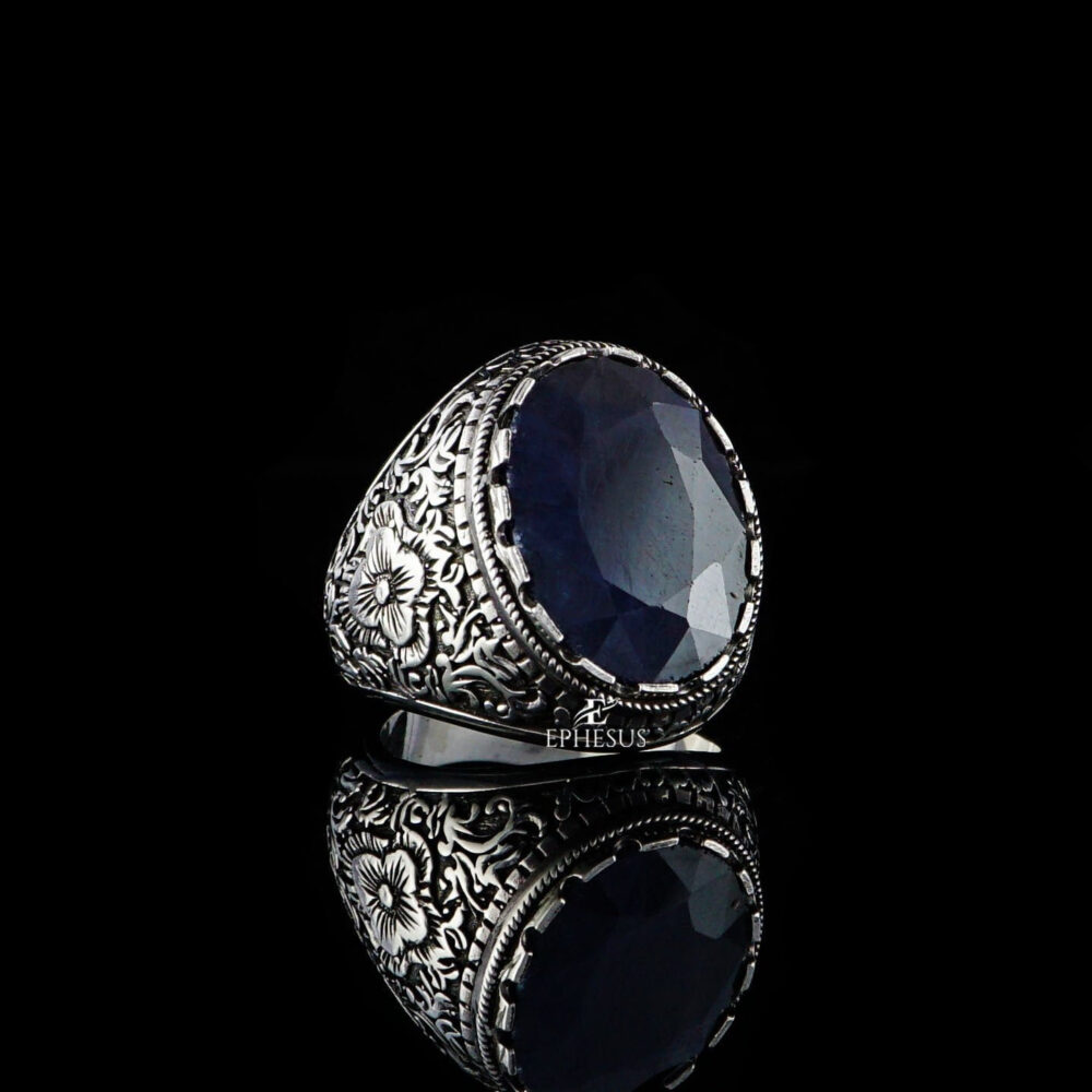 Mens Sapphire Ring, Natural Handmade Blue Ring For Men, Gemstone Classy Gift Men