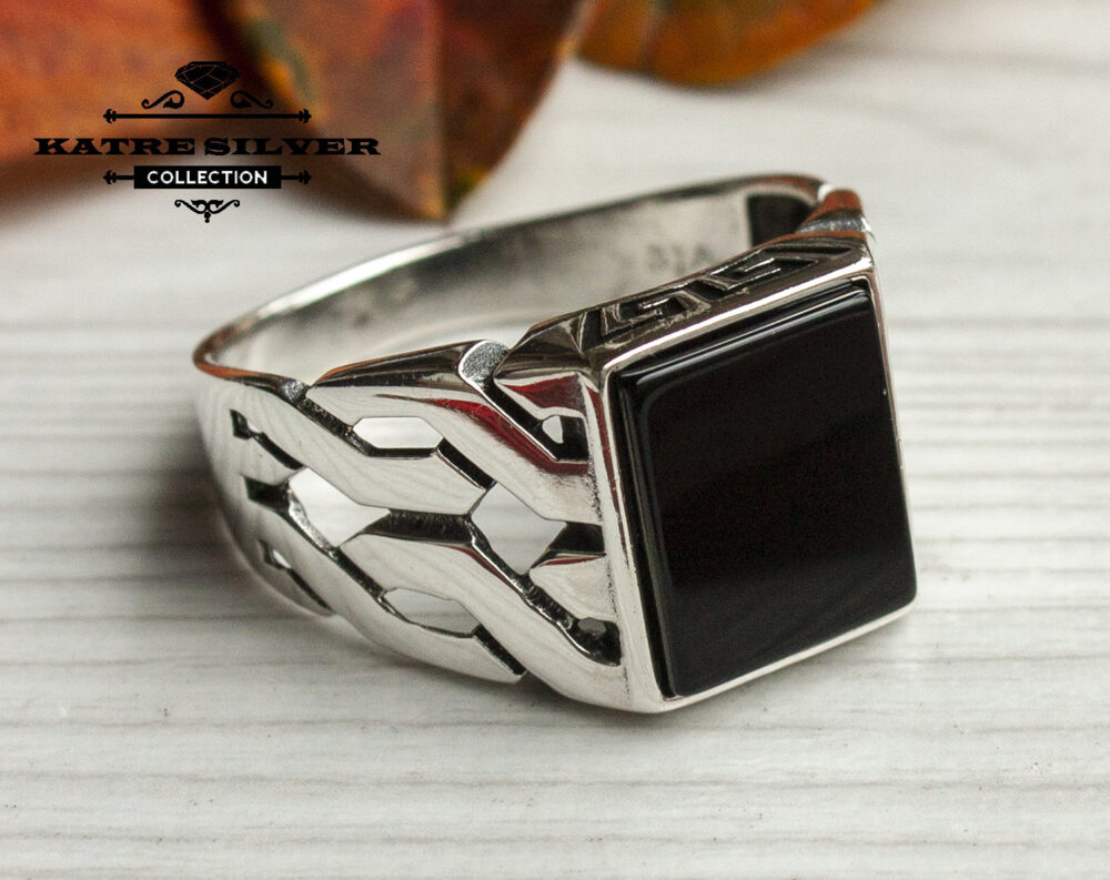 Unique Mens Onyx Ring Sterling Silver Boho Jewelry Handcrafted Turkish Authentic Piece Of Gift For Him