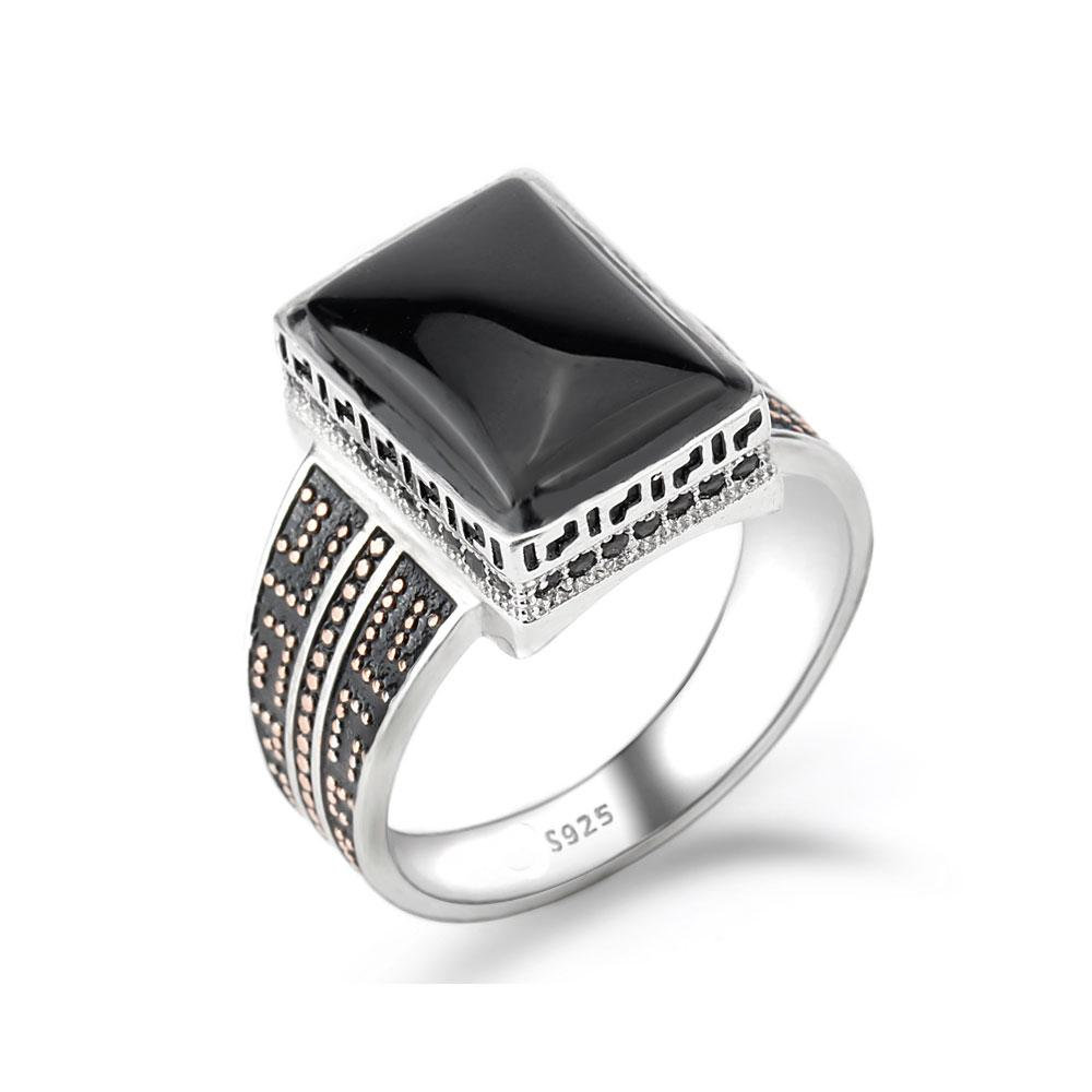 Mens Onyx Ring, Sterling Silver Black Ring Signet Ring , Morningstar Black Stone Replica
