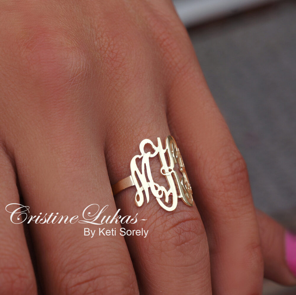 Swirly Monogram Ring - Personalized Initials in 10K, 14K & 18K Gold, White, Rose Or Yellow Gold