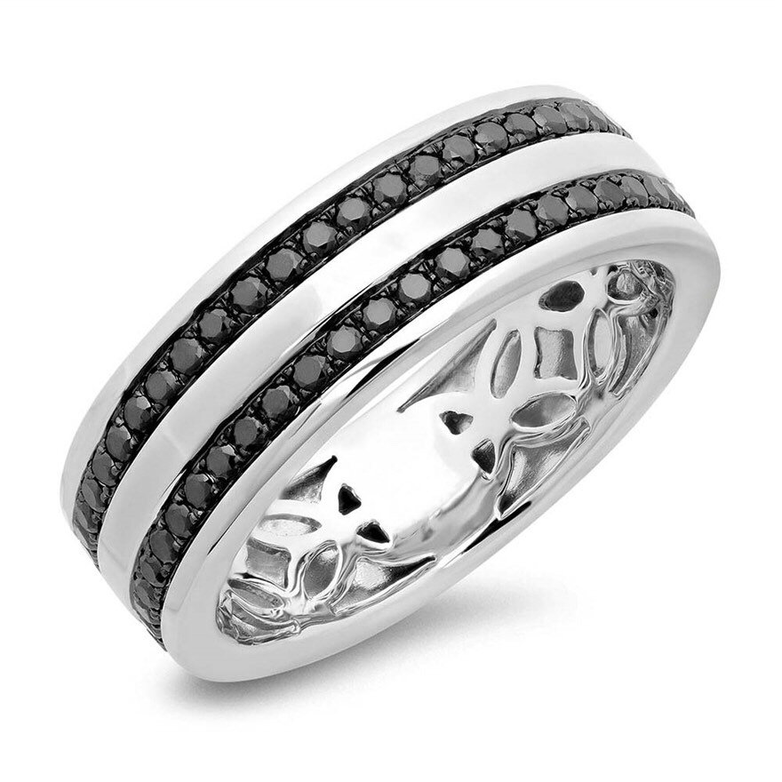 14K White Gold Men's Black Diamond Pave Ring, Wedding Band #2152