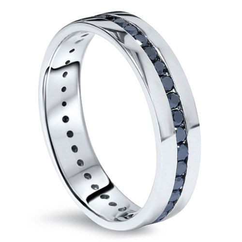 1.25Ct Mens Black Diamond Channel Set Eternity Wedding Ring Anniversary Band Comfort Fit High Polished Finish