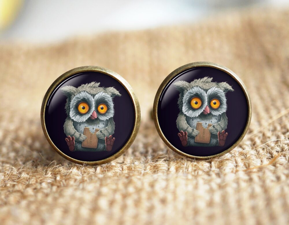 Owl Cuff Links, Baby Cufflinks, Unique Men Cuff Links, Groomsmen Father's Day Gift, Steampunk Links, Tie Clip