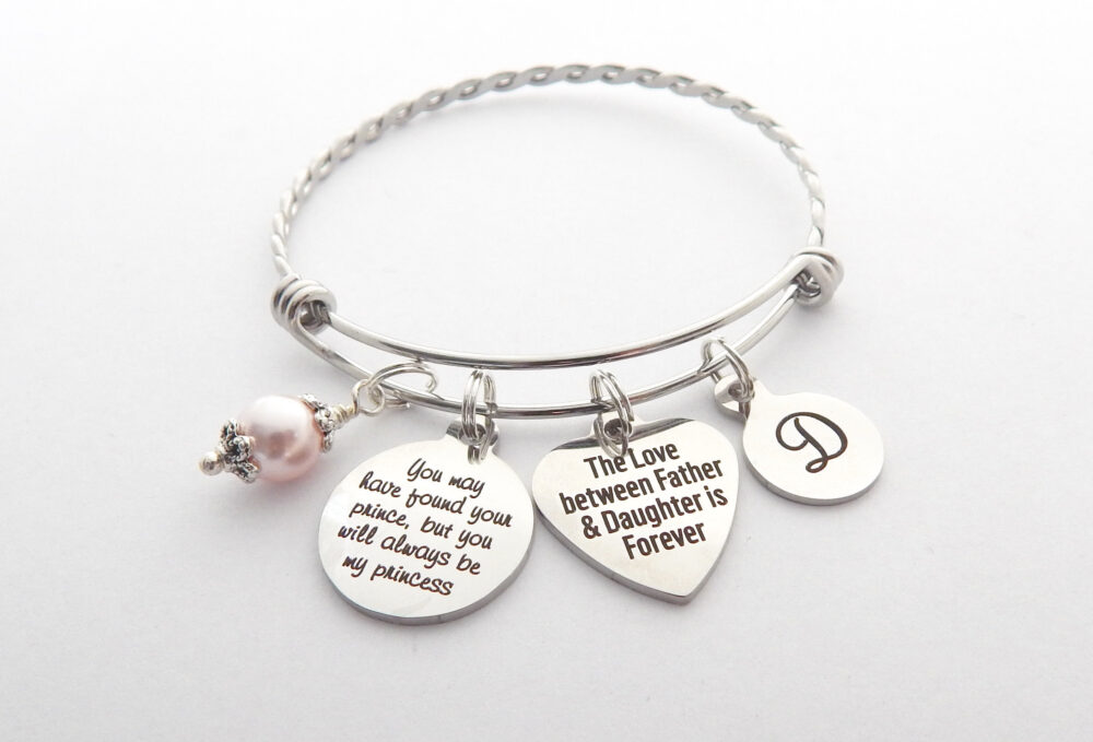 Dad To Daughter Gift-From Dad-Wedding Message Jewelry-Bride Be Gift From Father-Charm Bracelet-Gifts Father Daughter