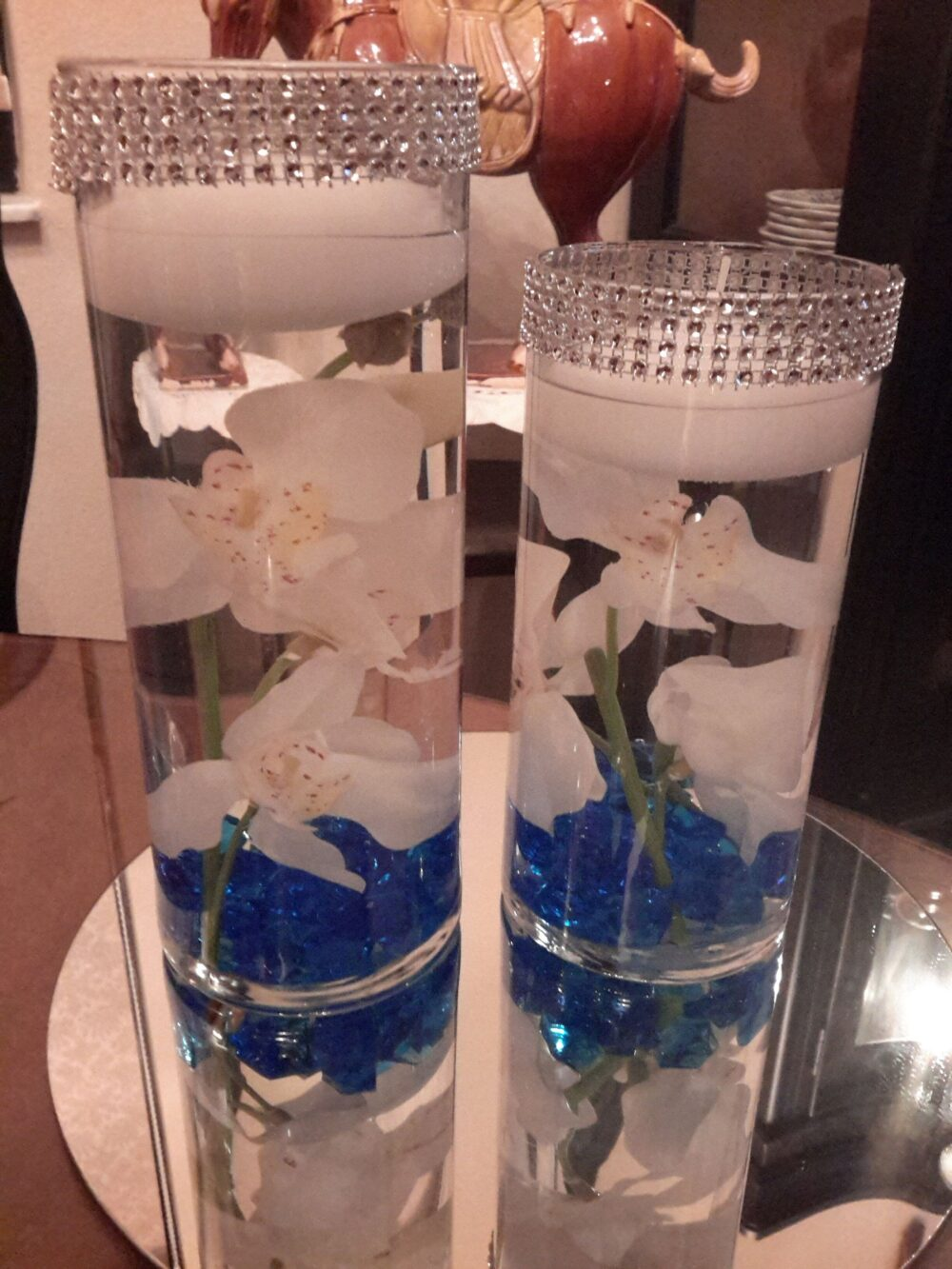 Floral Floating Candle Set-Bling Orchid Cylinder Centerpiece-Floating Candles-Party-Wedding-Gift-Anniversary-Birthday-Shower-Candle Gift Set