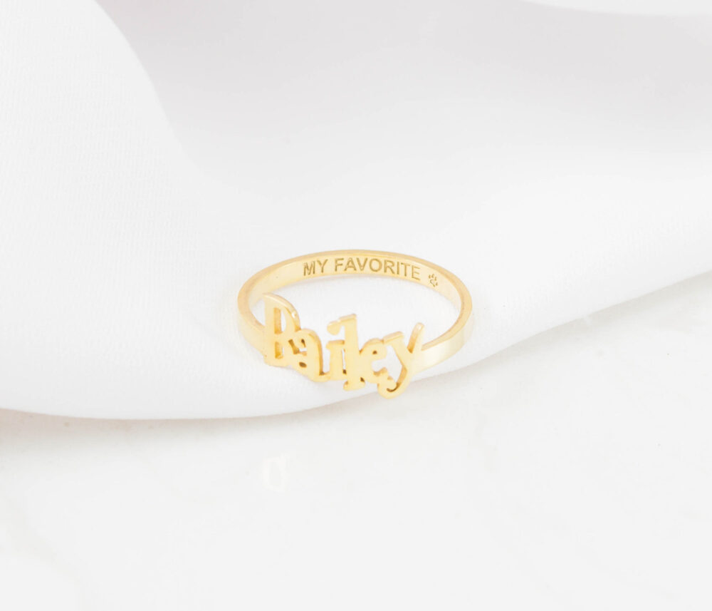 Custom Name Ring with Engraved Band • Children Dainty Jewelry Personalized Gift For Her Mom •rm38F17