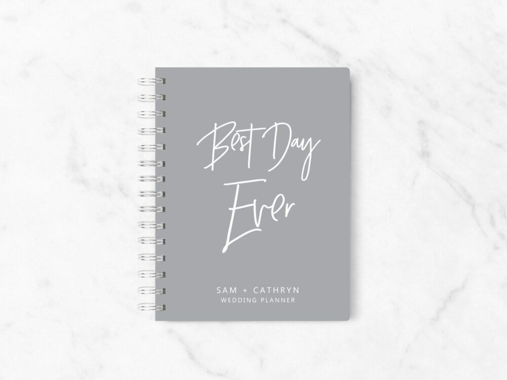 Best Day Ever Wedding Planner Book, Grey Planning Hardcover Planner, Sku A016