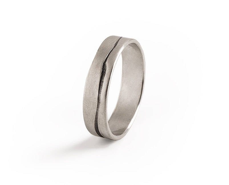 Mens Wedding Band - Silver Gentle Mountain Style Oxidized Engraving. Perfect Valentine's Day Gift For Him