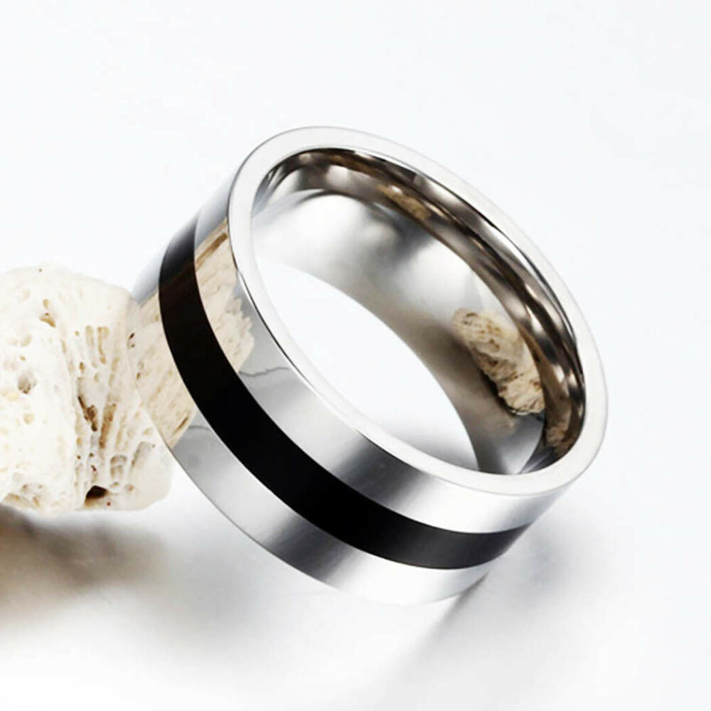 Men Black/Silver Wedding Band