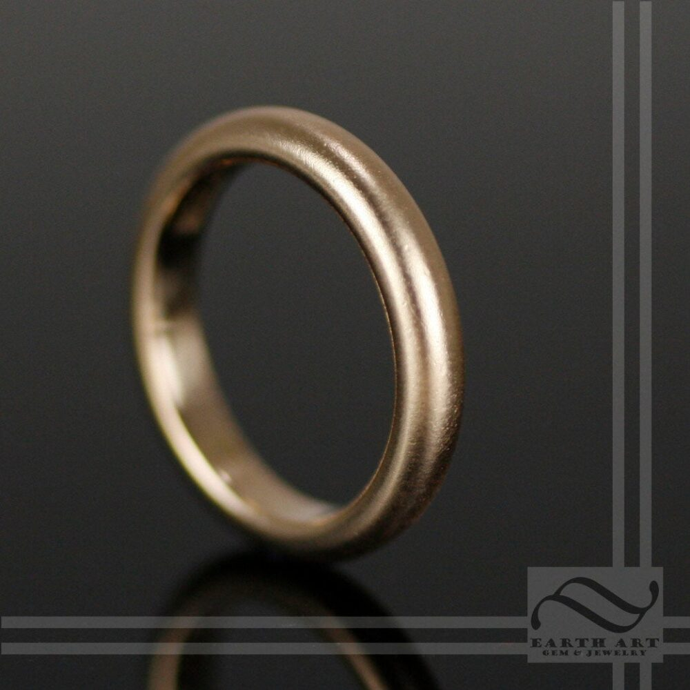 Thick Classic Mens Wedding Band - 14K Brushed, Dimpled Or Polished Finish Yellow, White Rose Gold, 4mm Wide Comfort Fit