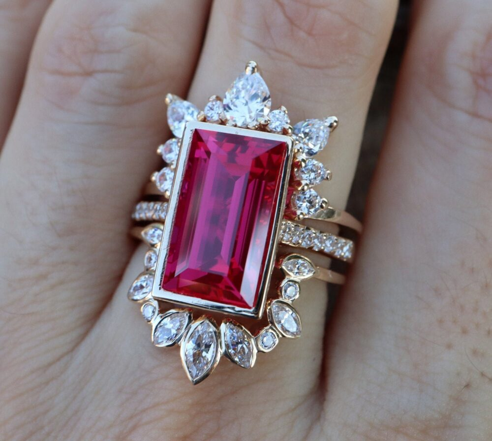 Rectangle Ruby Halo Bridal 3 Ring Set - 14K Gold Large Emerald Engagement Set with 2 Wedding Band - Cut Red Stone