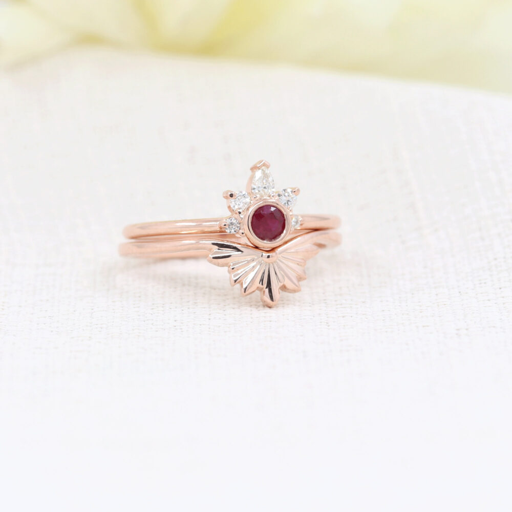 Dainty Bridal Ring Set.diamond Engagement Ring.ruby&diamond Wedding Set.dainty Diamond Band.gold Ring.ruby Set