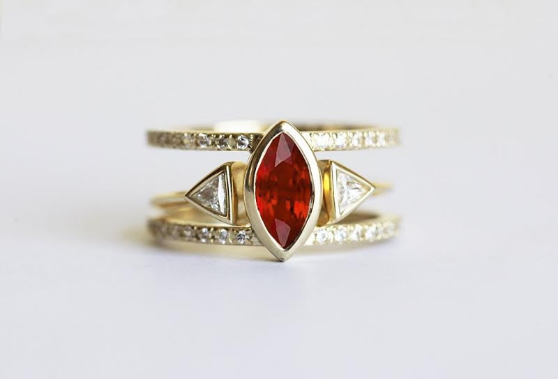 Ruby Ring Set, July Birthstone, Engagement Diamond Ring, 14K Gold Marquise Bridal Wedding Band Set