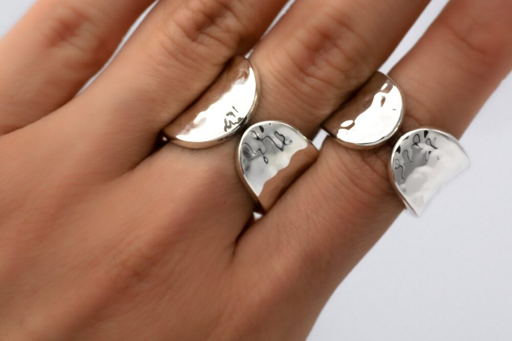 Sterling Silver, Hammered Band Ring, Chunky Silver Thick Band, Statement Ring