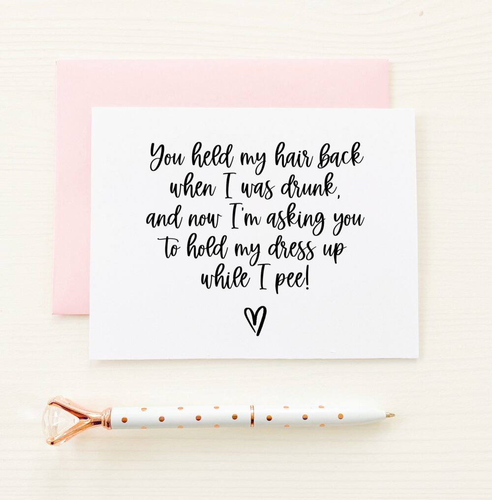Funny Bridesmaid Cards, Will You Be My Bridesmaid, Proposal Cards