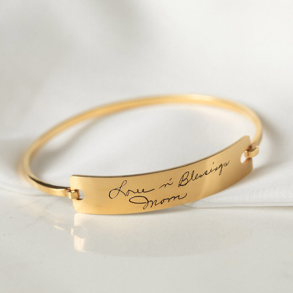 Custom Actual Handwriting Jewelry - Bangle Engrave Signature Bracelet Sentimental Gift Mother Grandma Gift